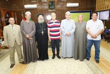 استقبال منسق عام بيت العائلة المصرية على مستوى الجمهورية والوفد المرافق له بمكتب محافظ المنوفية